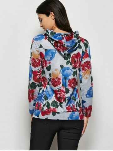 Discount Fashionable Hooded Long Sleeve Floral Print Drawstring Women Hoodie - M GRAY Mobile