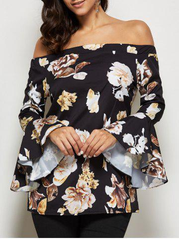Fancy Allover Print Off The Shoulder Flare Sleeve Blouse - XL BLACK Mobile