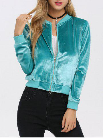 Old Classical Solid Color Long Sleeve Short Baseball Coat for Women - Tiffany Blue - L