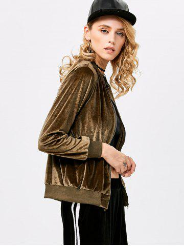 Chic Old Classical Solid Color Long Sleeve Short Baseball Coat for Women - L OLIVE GREEN Mobile