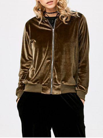 Chic Old Classical Solid Color Long Sleeve Short Baseball Coat for Women - XL OLIVE GREEN Mobile