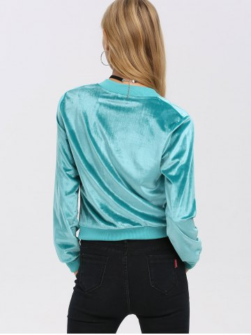 Hot Old Classical Solid Color Long Sleeve Short Baseball Coat for Women - M TIFFANY BLUE Mobile