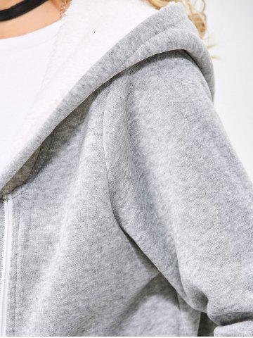 Online Casual Solid Color Zipper Design Long Sleeve Hoodies for Women - 2XL LIGHT GRAY Mobile