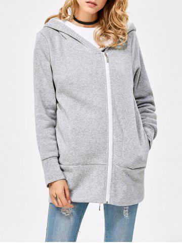 Hot Casual Solid Color Zipper Design Long Sleeve Hoodies for Women - 2XL LIGHT GRAY Mobile