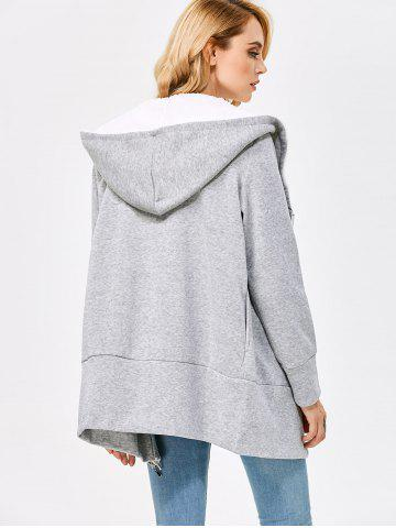 Online Casual Solid Color Zipper Design Long Sleeve Hoodies for Women - 3XL LIGHT GRAY Mobile