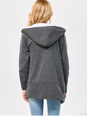 Store Casual Solid Color Zipper Design Long Sleeve Hoodies for Women - L SMOKY GRAY Mobile