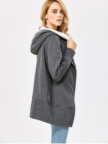 Online Casual Solid Color Zipper Design Long Sleeve Hoodies for Women - L SMOKY GRAY Mobile