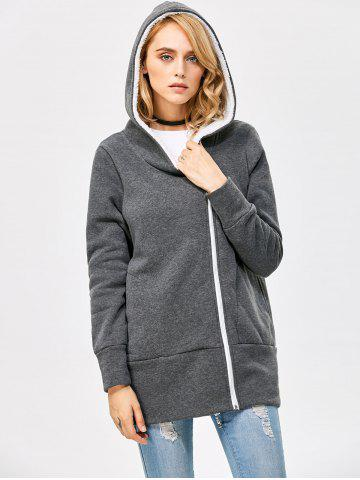 Store Casual Solid Color Zipper Design Long Sleeve Hoodies for Women - 2XL SMOKY GRAY Mobile