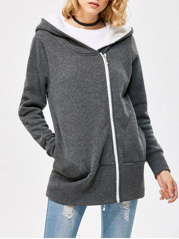 Store Casual Solid Color Zipper Design Long Sleeve Hoodies for Women - 3XL SMOKY GRAY Mobile