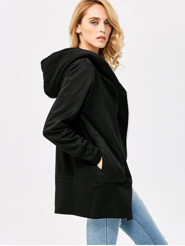 Best Casual Solid Color Zipper Design Long Sleeve Hoodies for Women - L BLACK Mobile