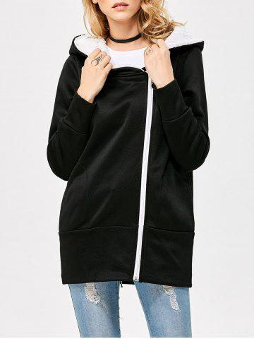 Shop Casual Solid Color Zipper Design Long Sleeve Hoodies for Women - L BLACK Mobile