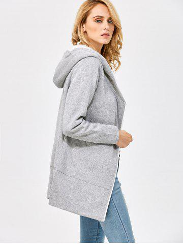 Store Casual Solid Color Zipper Design Long Sleeve Hoodies for Women - L LIGHT GRAY Mobile