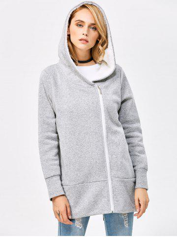 Fancy Casual Solid Color Zipper Design Long Sleeve Hoodies for Women - L LIGHT GRAY Mobile