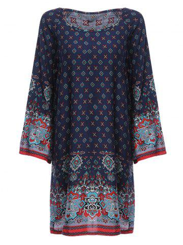 Latest Old Classical  Style Round Collar Long Sleeve Print Loose Women Dress PURPLISH BLUE XL