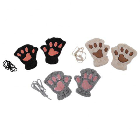 Outfit Cute Bear Claw Design Open Finger Thickening Warm Gloves for Women - GRAY  Mobile