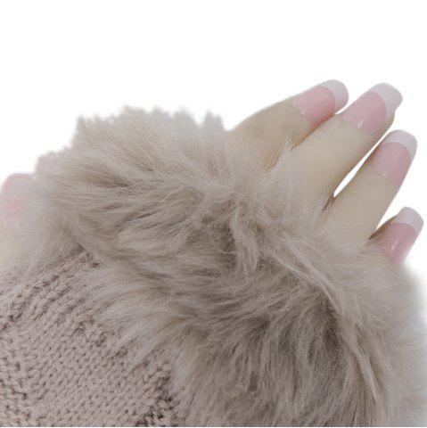 Best Cute Open Toe Fur Design Warm Knitted Gloves for Women - KHAKI  Mobile