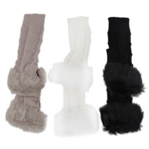 Sale Cute Open Toe Fur Design Warm Knitted Gloves for Women - KHAKI  Mobile