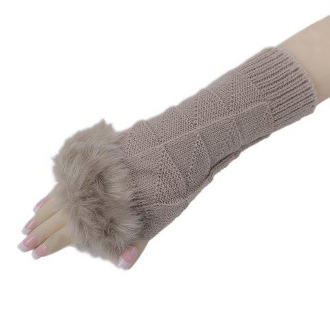 Cheap Cute Open Toe Fur Design Warm Knitted Gloves for Women - KHAKI  Mobile