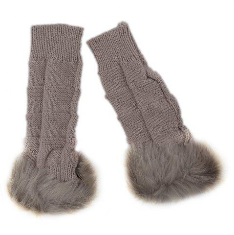 Outfits Cute Open Toe Fur Design Warm Knitted Gloves for Women - KHAKI  Mobile