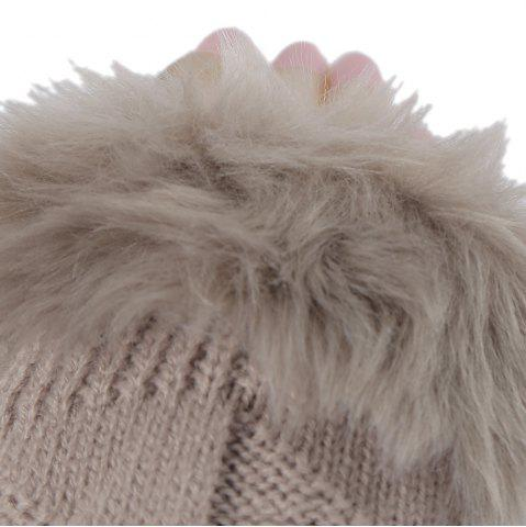 Unique Cute Open Toe Fur Design Warm Knitted Gloves for Women - KHAKI  Mobile
