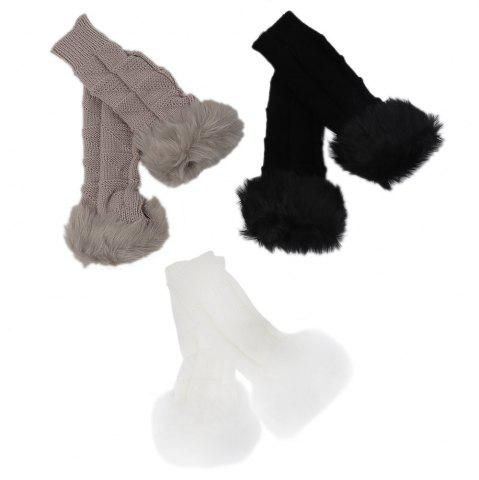 Online Cute Open Toe Fur Design Warm Knitted Gloves for Women - KHAKI  Mobile