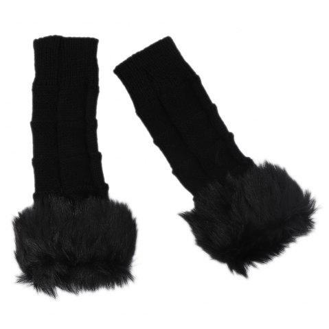 Unique Cute Open Toe Fur Design Warm Knitted Gloves for Women - BLACK  Mobile