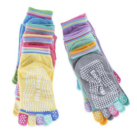 Chic Yoga Socks Non-slip Skid with Full Toe Grips - GRAY  Mobile
