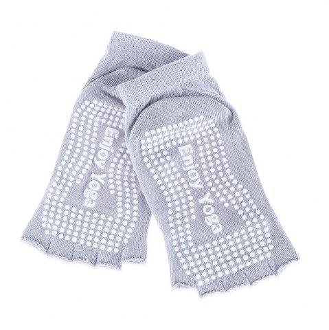Women Yoga Dance Sports Pilates Anti-Slip Exercise Massage Half Toe Socks - Gray