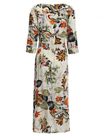 Discount Old Classical  Style Plunging Three Quarter Sleeve Allover Print Waist Women Dress - S OFF-WHITE Mobile