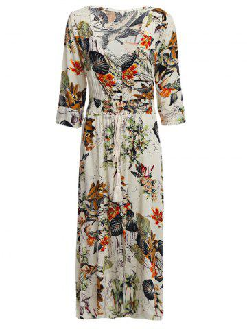 Online Old Classical  Style Plunging Three Quarter Sleeve Allover Print Waist Women Dress - S OFF-WHITE Mobile