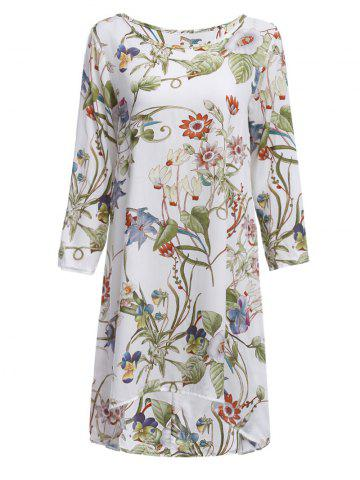 Floral Print Shift Dress With Sleeves - White - M