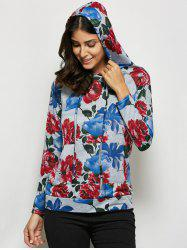 Fashionable Hooded Long Sleeve Floral Print Drawstring Women Hoodie