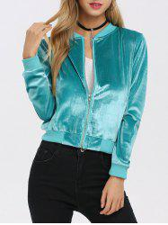 Old Classical Solid Color Long Sleeve Short Baseball Coat for Women - TIFFANY BLUE