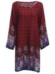 Old Classical  Style Round Collar Long Sleeve Print Loose Women Dress