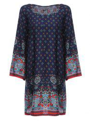 Old Classical  Style Round Collar Long Sleeve Print Loose Women Dress - PURPLISH BLUE XL
