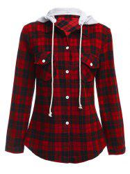 Long Sleeve Drawstring Hooded Plaid Flannel Shirt - RED
