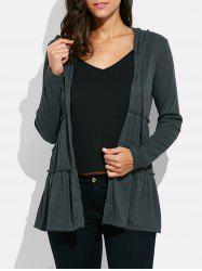 Casual Hooded Tie-up Women Cardigan