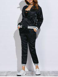 Chic Stand Collar Embroidery Women Two Piece Sport Set - BLACK
