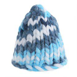 Fashion Winter Monochromatic Warm Knit Cap Thick Stick knitted Hat for Women - AZURE