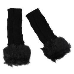 Cute Open Toe Fur Design Warm Knitted Gloves for Women