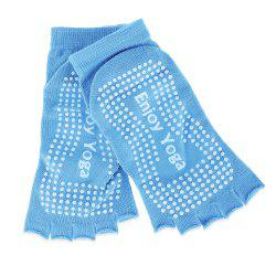 Women Yoga Dance Sports Pilates Anti-Slip Exercise Massage Half Toe Socks - LAKE BLUE
