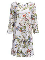 Floral Print Shift Dress With Sleeves - WHITE