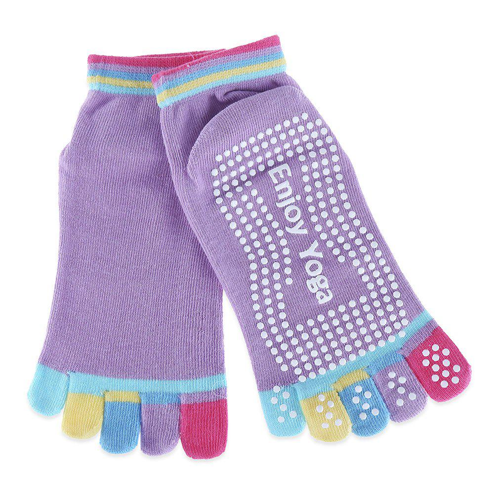 Yoga Socks Non-slip Skid with Full Toe GripsACCESSORIES<br><br>Color: LIGHT PURPLE; Product weight: 0.030 kg; Package weight: 0.053 kg; Product Size(L x W x H): 20.00 x 9.00 x 0.80 cm / 7.87 x 3.54 x 0.31 inches; Package Size(L x W x H): 24.00 x 12.00 x 1.00 cm / 9.45 x 4.72 x 0.39 inches;