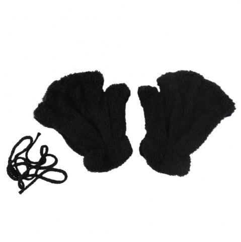 Shops Cute Bear Claw Design Open Finger Thickening Warm Gloves for Women BLACK