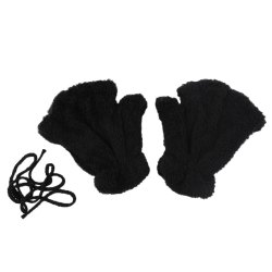 Cute Bear Claw Design Open Finger Thickening Warm Gloves for Women - BLACK