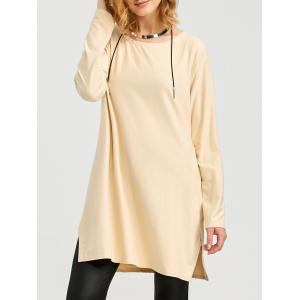 Long Zipper Side Slit Long Sleeve T-Shirt