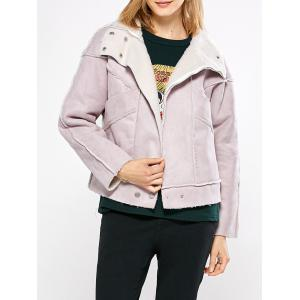 Chic Turn Down Collar Spliced Chunky Women Coat - Pink - L