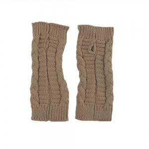 Winter Open Finger Solid Color Warm Knitted Gloves for Women