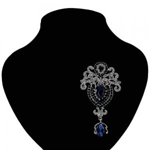 Water Drop Fake Crystal Rhinestoned Brooch - BLUE