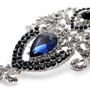 Water Drop Fake Crystal Rhinestoned Brooch -